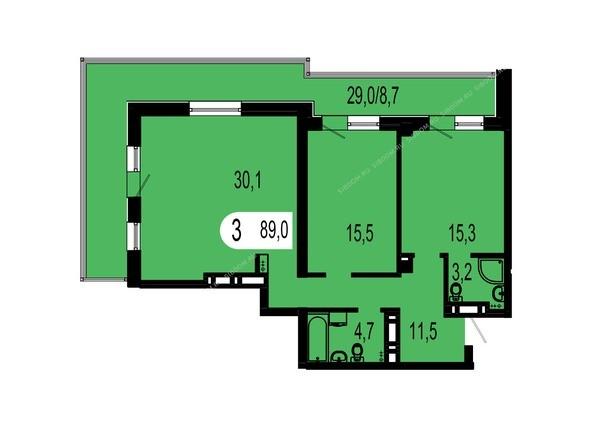 Планировки Жилой комплекс ТИХИЕ ЗОРИ мкр, 1 дом (Красстрой) - Планировка трехкомнатной квартиры 89 кв.м