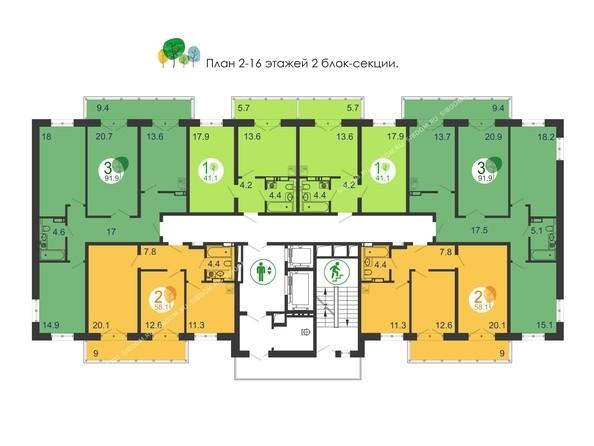 Планировки новостроек Green Park ж/к - Планировка 2-16 этажей, 2 б/с