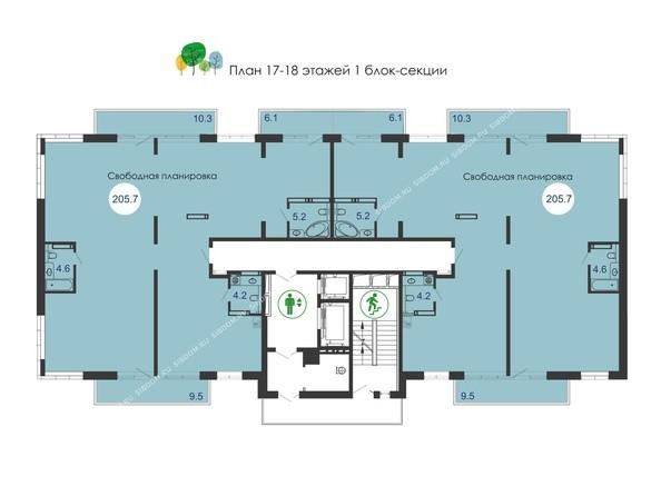 Планировки новостроек Green Park ж/к - Планировка 17-18 этажей, 1 б/с