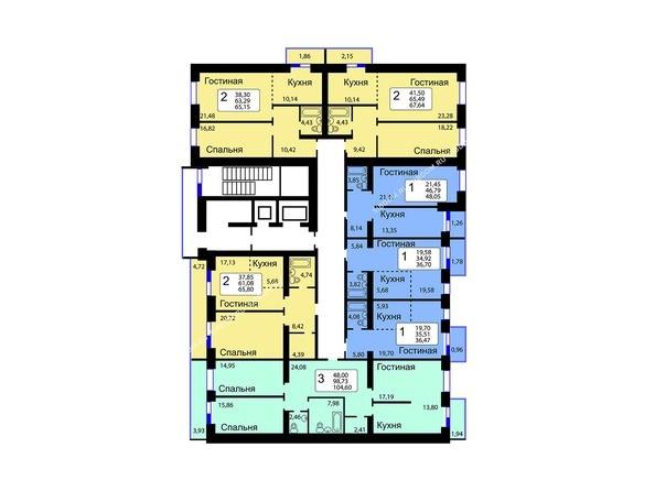 Блок-секция 13. Планировка 1-9 этажей