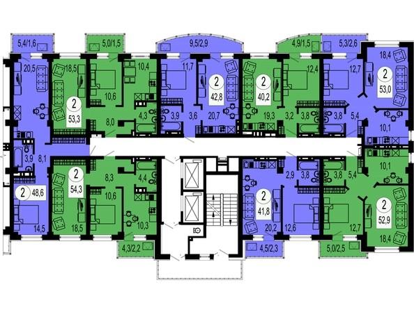 Планировки Жилой комплекс БЕЛЫЕ РОСЫ МКР, 22 дом - Типовой этаж, секция 2