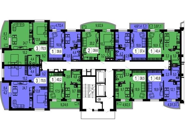 Планировки Жилой комплекс БЕЛЫЕ РОСЫ МКР, 22 дом - Типовой этаж, секция 1