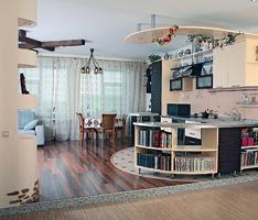 Частный интерьер:кухня,обьединенная с гостиной
